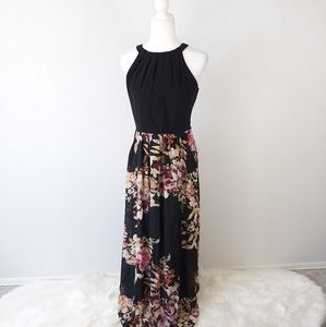 SLNY Black Floral Print Sleeveless Maxi Dress 6